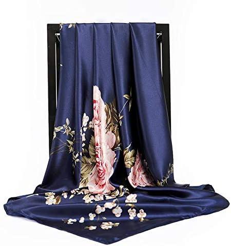 Fashion Silk Scarves Women 9090cm Square Head Scarf Ladies Shawl Wrap Muffler Pareo Bandanna Female Chiffon Hijab Poncho Wool for Women (Color : 13, Size : 90X90cm)
