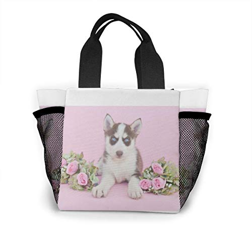 Lunch-Tasche für Damen, Handtasche, Lunch-Tasche für Arbeit, Picknick oder Reisen – Husky-Welpe