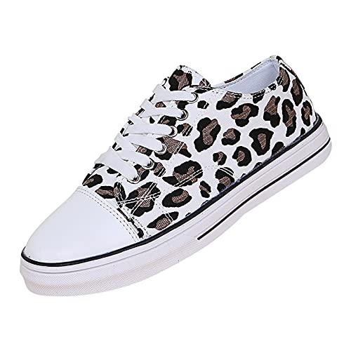 Zapatillas bajas casuales de mujer con estampado de leopardo, para mujer, de lona, con cordones, ligeras, antideslizantes, planas, blanco, 39
