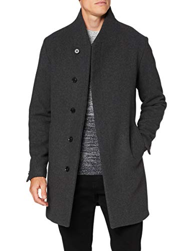 JACK & JONES Herren JJECOLLUM Wool Coat STS Jacke, Dark Grey Melange, XXL