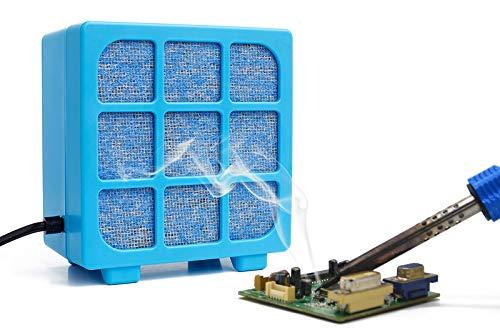 Solder Fume Extractor - MUIN 3 Stage Filtration Solder Smoke Absorber for Soldering and Wood Burning,Portable Soldering Fume Extractor Fan for Soldering Station (Blue)