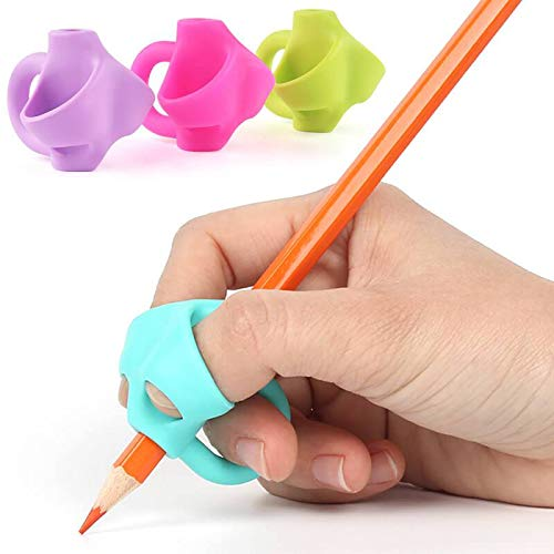 CHRONEX ECOMM Handwriting Aid Grip Trainer Posture Correction Finger Grip for Righties or Lefties (Set of 4 Pcs)
