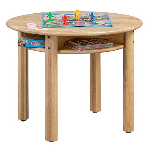 ECR4Kids Stowaway Table - Solid Wood Round Kids Table with Built-in...