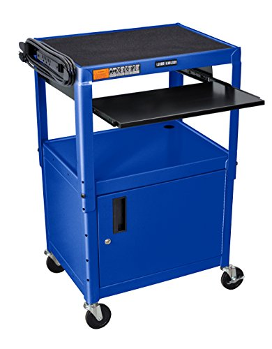 LUXOR AVJ42KBC-RB Adjustable Height Steel Cart with Locking Cabinet, 400 lb