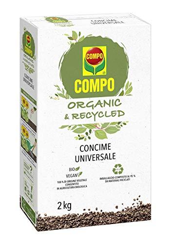 Compo 2679002005 Organic & Recycled Concime Granulare Universale, con Azoto e Potassio, Consentito in Agricoltura Biologica, 2 kg