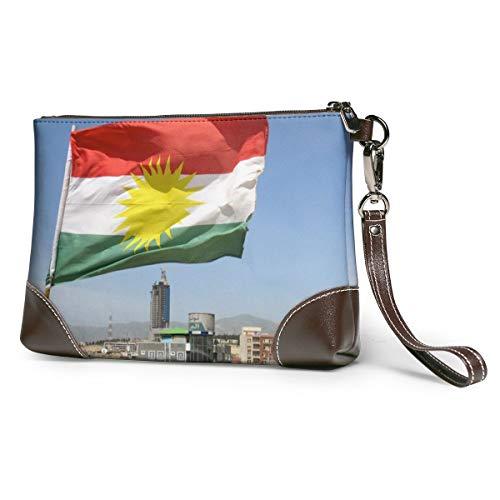 Echt lederen portemonnee voor vrouwen rits rond polsband lange portemonnee vintage embossing rundleer capaciteit handgemaakte koppeling KURDISTAN Kurd Koerden Koerdische vlag Poster