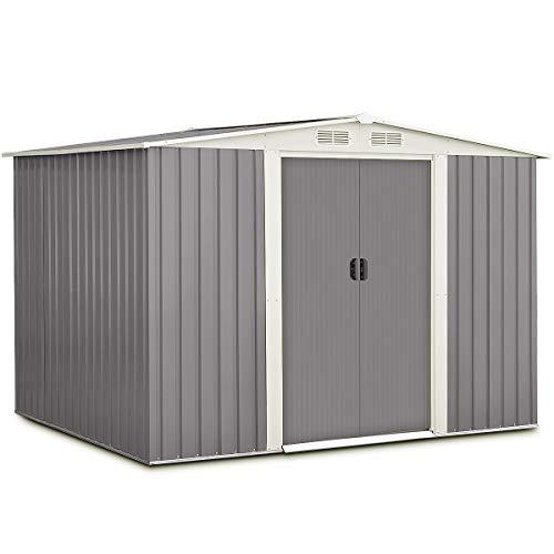 Goplus Galvanized Steel Outdoor Garden Storage Shed 6 x 8 Ft Heavy Duty Tool House W/Sliding Door (Gray)
