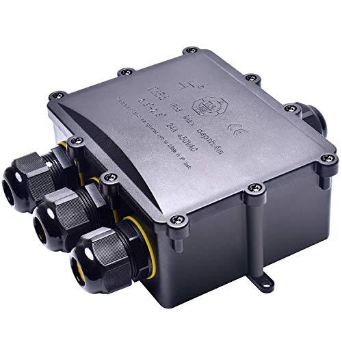 AFOROFF Abzweigdose, IP68 wasserdichte Zertifizierung, Außenkabelstecker, elektrische Anschlussdose für den Außenbereich, Erdungskabelanschlussdose, Kabeldurchmesser Ø5mm-15mm, 4-Wege