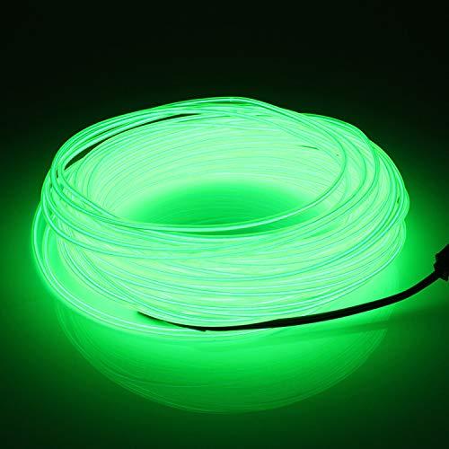 SZILBZ 5M Fluoreszierend grün EL Neon Kabel LED-Licht Glowing Beleuchtung Flexible Lampe + Controller-Box, für Home Garden, Halloween Weihnachtsfeier Dekoration