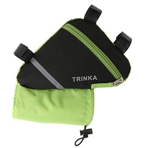 Bolsa de transporte para bicicleta de gran capacidad de nylon impermeable triángulo de la bicicleta delantera tubo de almacenamiento bolsa de deporte al aire libre montar a caballo equipo de ciclismo, verde