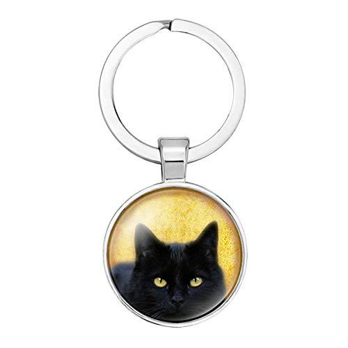 WZLDP Schlüsselanhänger Halloween Schwarze Katze Vogel Figur Schlüsselanhänger Runde Zeit Edelstein Glas Schlüsselanhänger Schmuck Anhänger (Color : #2)