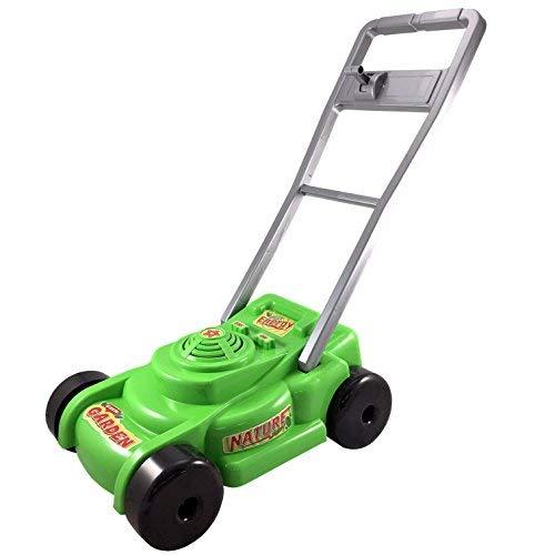 TikTakToo Rasenmäher Kinderrasenmäher Spielzeugrasenmäher mit Geräuschen grün / Silber