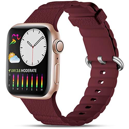 Oielai Silicone Cinturino Compatibile con Apple Watch Cinturini 40mm 44mm 38mm 42mm, Sportivi Ricambio Morbido Cinturino Compatibile per Apple Watch Series 6/5/SE/4/3/2/1, 38mm/40mm Vino Rosso