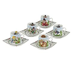 Image: Alice in Wonderland Porcelain 3-Ounce Tea Party Cup and Saucer Set, Service for 5 | Brand: Cardew