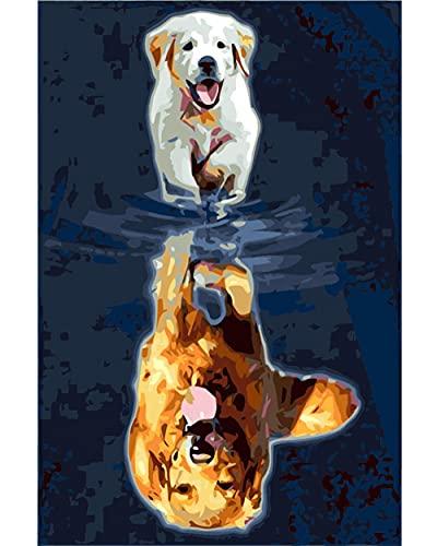 Pintar por Numeros, Pintura por Números perro de Color Kits, Cuadro Pintar con Numeros para Adultos/Niños, Pintar por Números Decoraciones para el Hogar(40cm*50cm Enmarcado)
