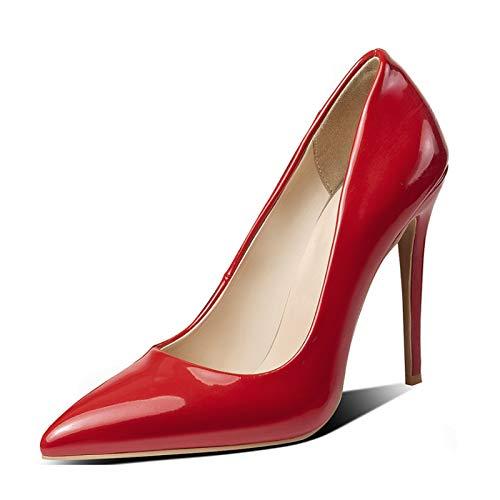 ZHIFENGLIU Tacones Súper Altos para Mujer, Zapatos Individuales De Charol para Mujer, Tacones De Aguja Puntiagudos, Bombas Sin Cordones, Tamaño Grande, Tamaño Extra Grande,Rojo,41
