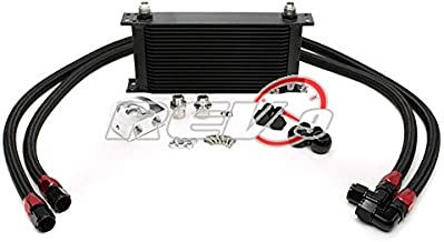 Brightt Compatible With Universal Fit 19 Row Oil Cooler Kit with Stainless Steel Braided Teflon Hose (Bar & Plate Core)- An-10 Size 11