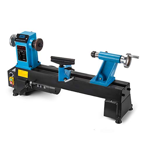 Review Mophorn 10 x 18 Inch Wood Lathe Bench Top Heavy Duty Wood Lathe Stepless Speed Regulation Dig...