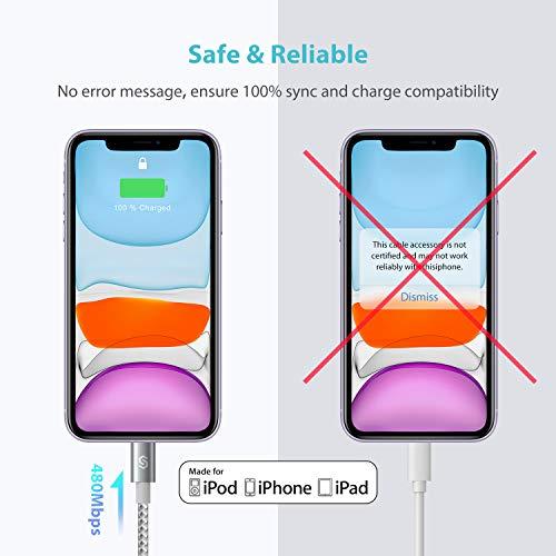 Syncwire USB-C Lightning Kabel 2M [C94 MFi-Zertifiziert] Power Delivery Typ-C Lightning Nylon-Ladekabel für iPhone 12/12 mini/12 Pro Max/SE2/11/11 Pro/11 Pro Max/X/XS/XS Max/XR/8/8 Plus - Silbergrau