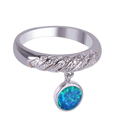 KELITCH Damen Ringe 925 Sterling Silber Überzogen Ring Mit Blau Opal Charme - Größe RS