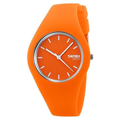 FeiWen Relojes de Mujer y Niña Minimalismo Fashion Estilo Cuarzo Analógico Goma Bisel con Correa Elegante Casual Reloj de Pulsera 12 Colorear (Naranja)