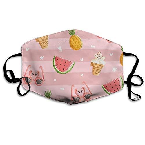 Houity stofdicht wasbaar masker, Flamingo bril Watermeloen koude drank zomer, zacht, ademend, wasbaar, knop verstelbare masker, geschikt voor mannen en vrouwen maskers