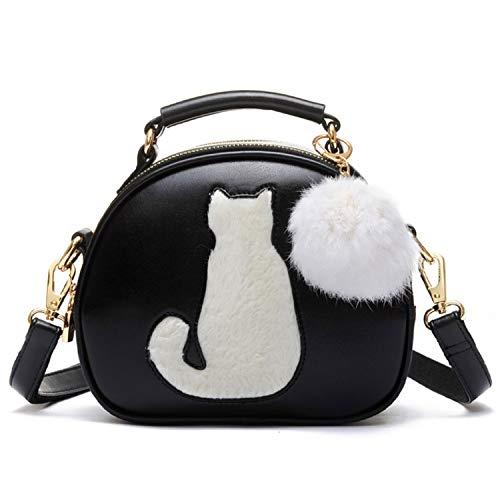 LUI SUI Frauen Pu-Leder Handtasche wasserdichte Nette Katze Tote Satchel Schulter Crossbody Tasche Top Brieftasche Geldbörsen Schwarz