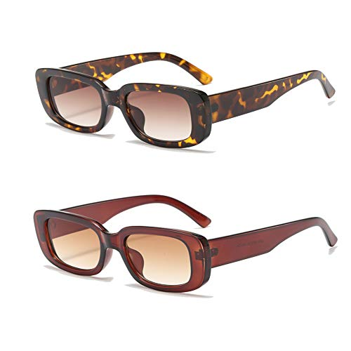 YAMEIZE Rectangle Sunglasses for Women Men 2 Pack 90's Vintage Driving Square Small Glasses UV400 Protection (Leopard+Brown)