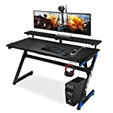 Large Gaming Desk 55 Inch Computer Gaming Desk E-Sports Racing Table with with Cup Holder, Headphone Hookfor Home Office, Black