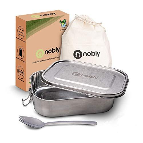 Nobly Edelstahl Brotdose - TÜV geprüft - Plastikfrei - 1400ml auslaufsichere Brotbox mit herausnehmbarer Trennwand - Lunchbox mit Göffel für Kinder | Aufbewahrungsbeutel für die Brotbüchse