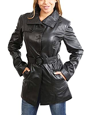 A1 FASHION GOODS Womens Real Leather Black Trench Coat Waist Belt Mid Length Parka Jacket - Alba (X-Small)