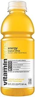 Glaceau VitaminWater Nutrient Enhanced Water Beverage, Energy (Tropical Citrus), Vitamin B + Guarana, 20 oz (Pack of 24)