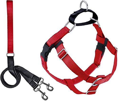 2 Hounds Design Freedom No Pull Dog Harness | Adjustable Gentle Comfortable Control for Easy Dog Walking |for Small Medium and Large Dogs | Made in USA | Leash Included | 1' MD Red
