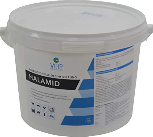 HALAMID - DAS ORIGINAL! CHLORAMIN-T - Professionelles Desinfektionsmittel gegen Viren, Bakterien, Pilze und einzellige Ektoparasiten, wie Giardien bei Hund und Katze, 1kg Eimer