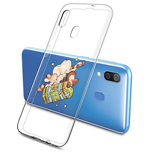 Oihxse Compatible pour Silicone Samsung Galaxy S20 Ultra 5G Coque Crystal Transparente TPU Ultra Fine Souple Housse avec Motif [Elephant Lapin] Anti-Rayures Protection Etui(B7)