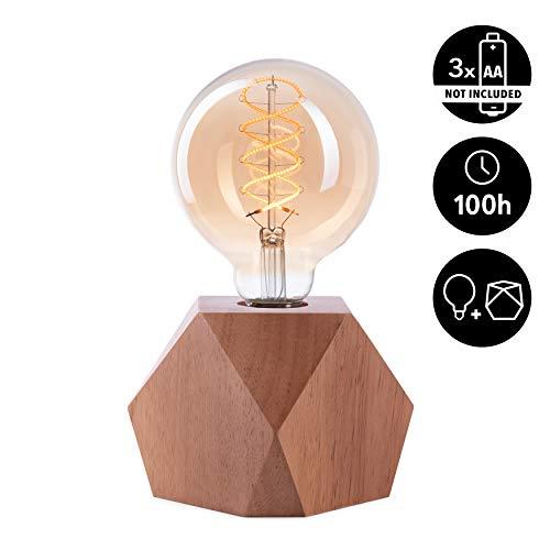 CROWN LED Tischlampe Vintage Batteriebetrieben - Design Tischleuchte aus Holz E27 Fassung inkl. Retro Edison LED Glühbirne EL19