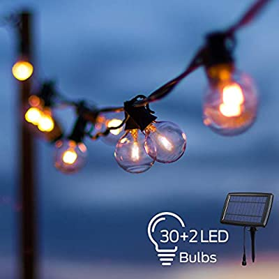 OxyLED LED Solar String Lights with 30+2 Clear G40 Bulbs, 33 Ft Hanging Outdoor LED Globe String Lights Solar Powered Waterproof for Indoor Bedroom Patio Garden Porch Wedding Party Christmas