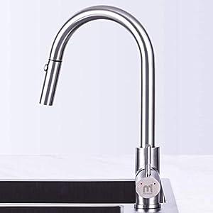 Grifo de Cocina, MEHOOM Grifo con Ducha Extraible 2 Modos de Flujo de Agua Giratorio de 360° para el Fregadero de Cocina Monomando Grifería, Frío y Calor Disponibles