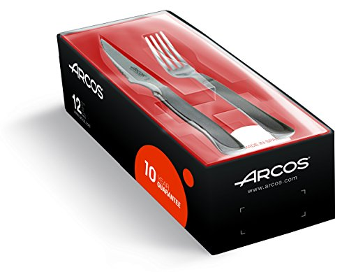 Arcos Couteaux de Table - Set de Couteaux à Steak 12 pièces (6 Couteaux + 6 Fourchette) - Monobloc d'une Pièce Acier Inoxydable Couleur Argent
