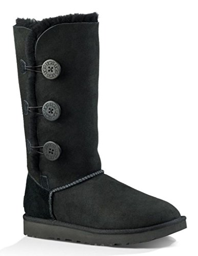 UGG Female Bailey Button Triplet II Classic Boot, Black, 9 (UK),42(EU)