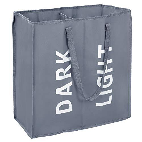 Eono Amazon Brand Doble Bolsas Cestos para la Colada, Gran Servicio de lavandería, Plegable Bolsa de Lavado de Ropa Bin (Gris Oscuro)