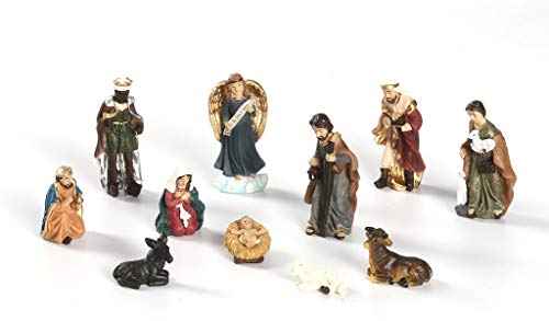 QXYOUNGA Weihnachtskrippe, Gruppe aus Kunstharz, Dekoration für Weihnachtskrippe, komplettes Geschenk, Geburt, 5 cm