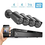 Amcrest Full-HD 1080P 4CH Video Security System w/Four 2MP Outdoor IP67 Bullet Cameras, 66ft Night Vision, Pre-Installed 1TB Hard Drive, (AMDV10814-4B-B)