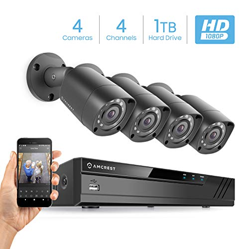 Amcrest Full-HD 1080P 4CH Video Security System w/Four 2MP Outdoor IP67 Bullet Cameras, 66ft Night...