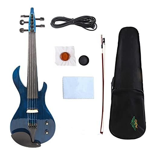 5 Cuerdas Violin Eléctrico Silencioso Buen Sonido Sólido Madera Blanco Azul Negro...