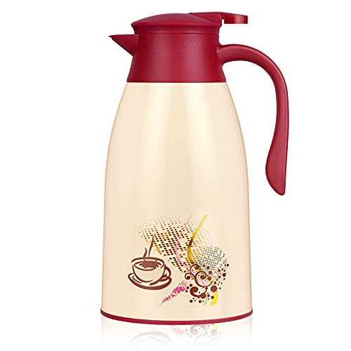 AceChef 45 Oz Glass Lined Thermal Carafe, Insulated Coffee Carafe, Coffee Thermos, Tea Pot with lid, Vacuum Insulated Thermal Coffee Carafe, 1.3 Liter