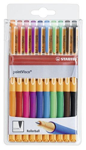 Tintenroller - STABILO pointVisco - 10er Pack - mit 10 verschiedenen Farben