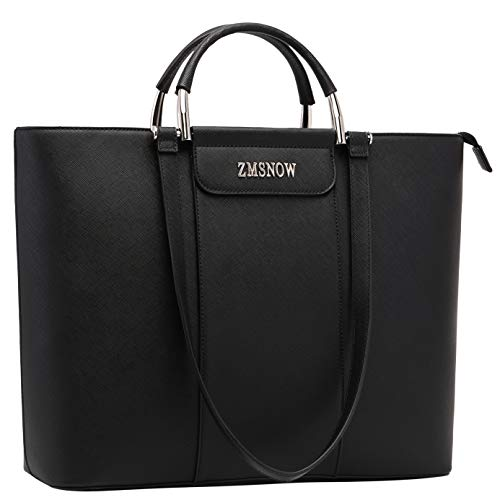 Laptop Bag for Women,Work Tote Laptop Bag Professional with Comfortable Long Strap Up to 15.6 Inch (black-2)