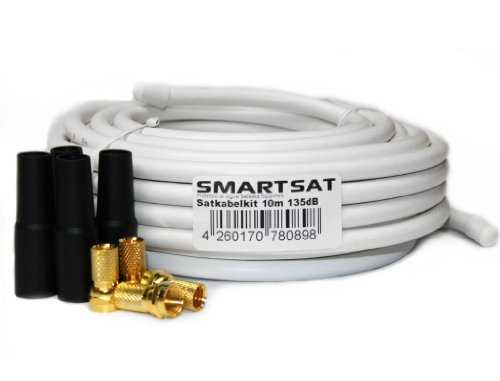 Smartsat 10m 135dB Kupfer Koaxial Kabel 8,2mm, SAT-Kabel inkl. 4 F-Steckern vergoldet und 4 Schutztüllen gratis, 10m Koaxkabel für Digitalfernsehen, Schirmungsmaß 135dB - bester Empfang für HDTV, 3D, FullHD, Ultra HD, HD 4K2K, UHDTV
