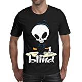 Wankens Mens Black Tshirt Cotton Short Sleeve Lovely Blind-Skateboards-Logo- Tshirts